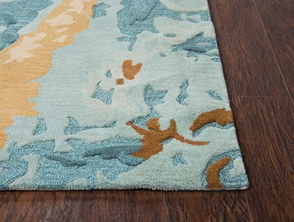 Blue, Grey, Teal Abstract Area Rug