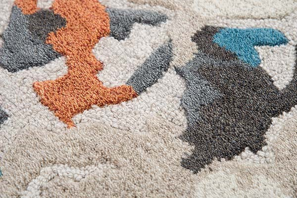 Beige, Grey, Orange Abstract Area Rug