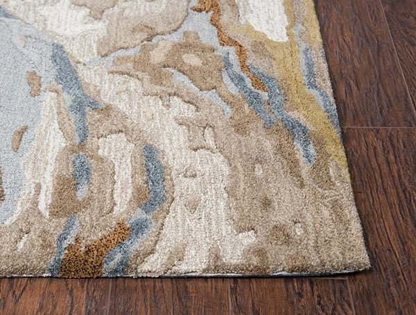 Beige, Blue, Grey Abstract Area Rug