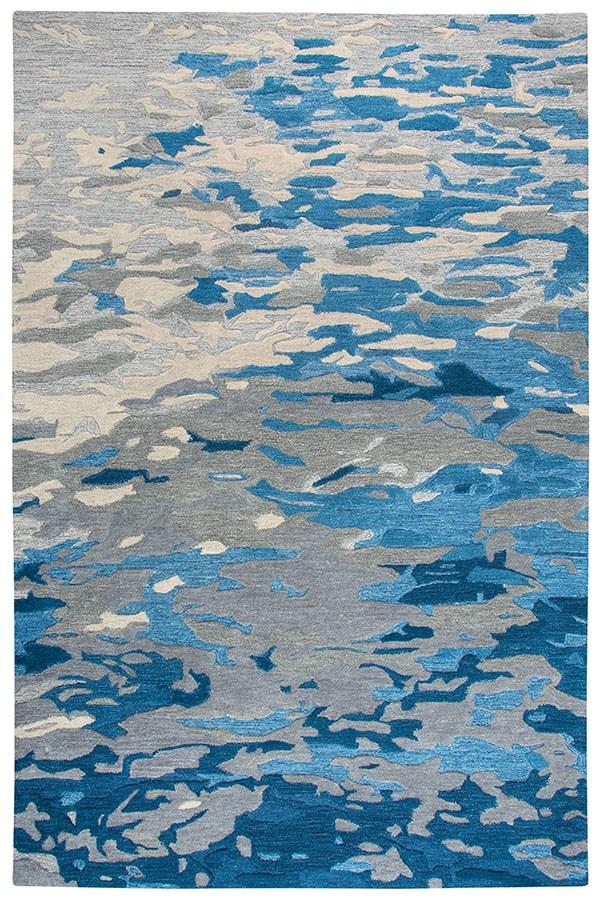 Blue, Dark Blue, Grey Abstract Area Rug