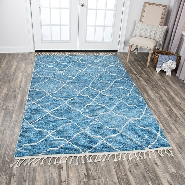 Blue, Natural Moroccan Area Rug