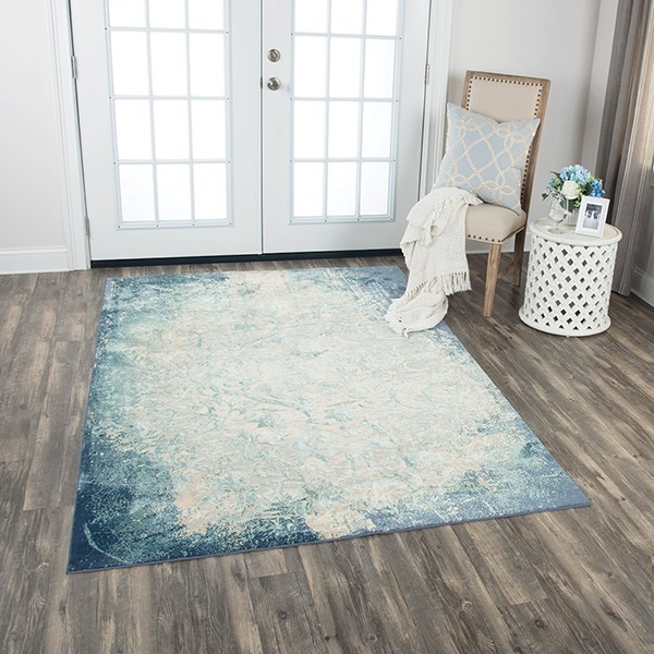 Cream, Teal, Blue Vintage / Overdyed Area Rug