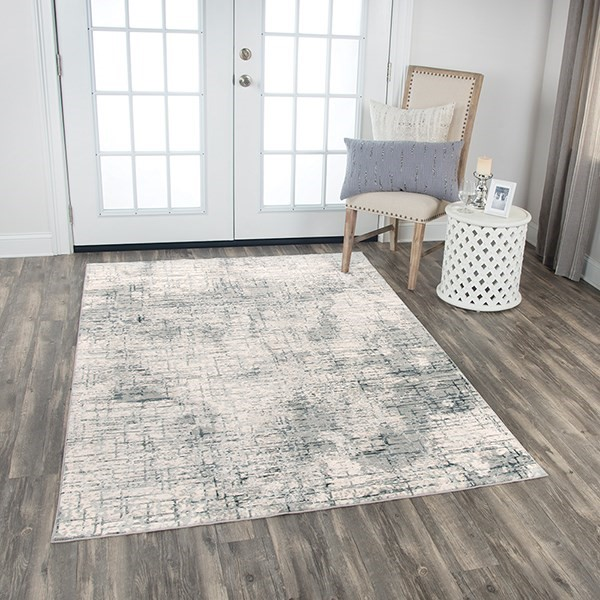 Cream, Grey Abstract Area Rug