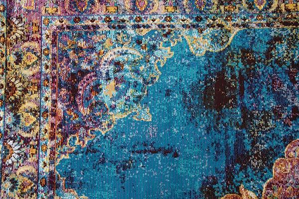 Blue, Rust, Gold Bohemian Area Rug