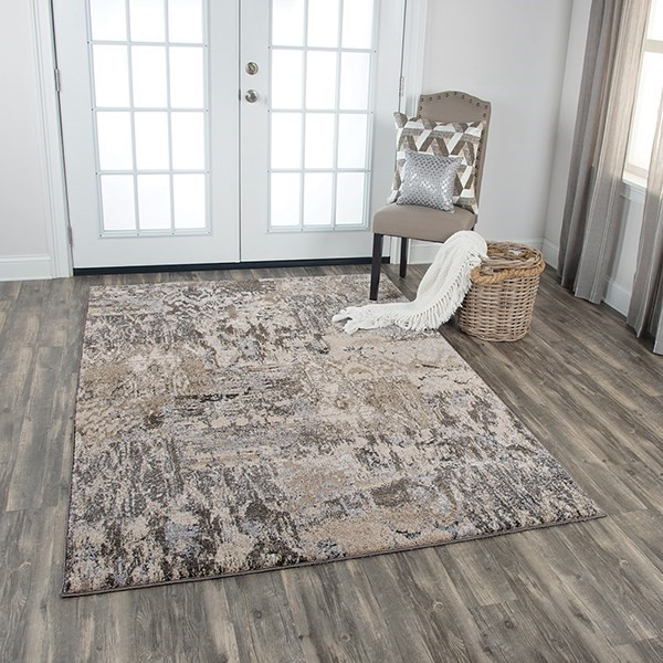 Silver, Taupe Abstract Area Rug