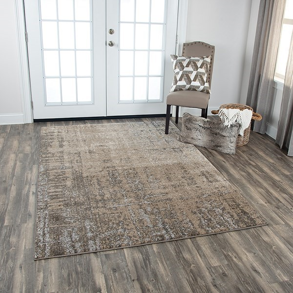 Beige, Silver, Taupe Abstract Area Rug