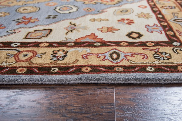 Beige, Rust, Light Blue Traditional / Oriental Area Rug