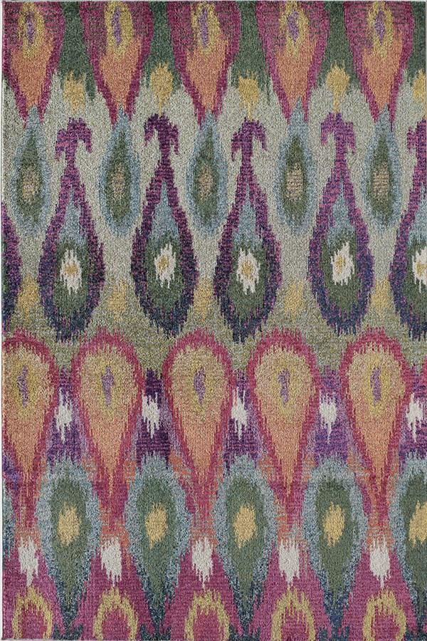 Purple, Green (A) Ikat Area Rug