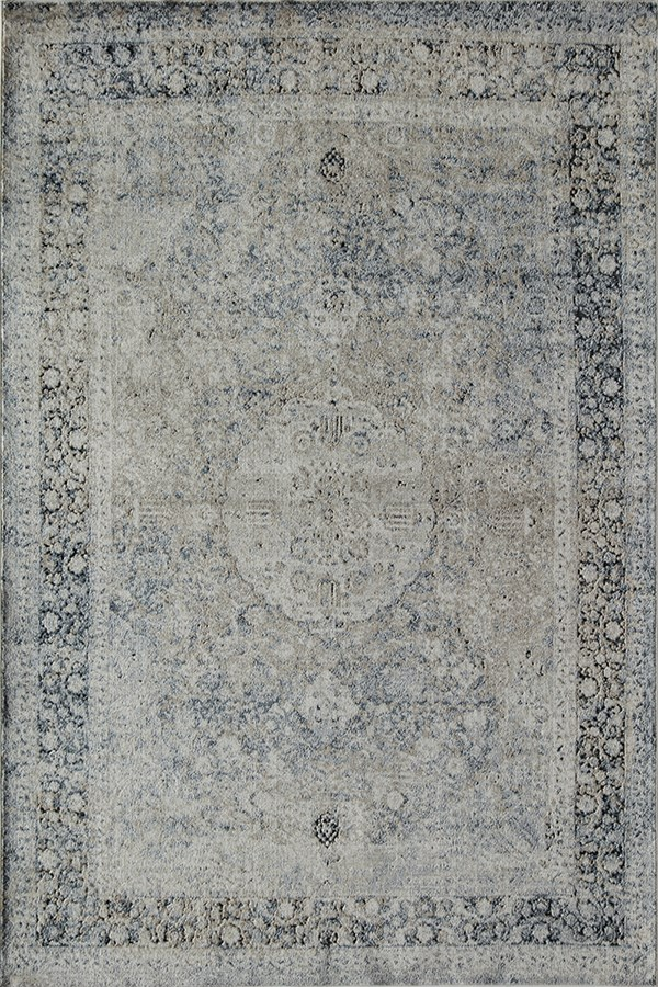Tan, Blue (A) Traditional / Oriental Area Rug