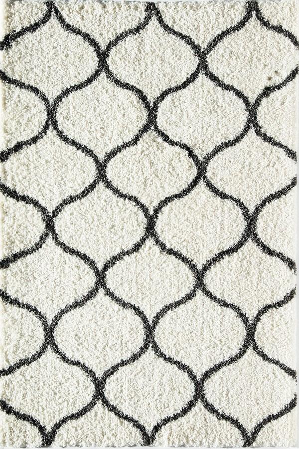 Ivory, Charcoal (B) Shag Area Rug