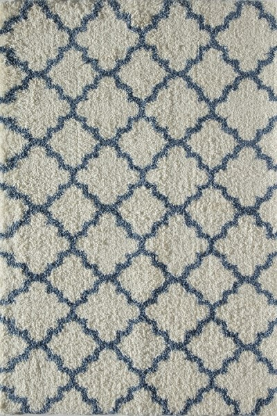 Ivory, Light Blue (E) Shag Area Rug