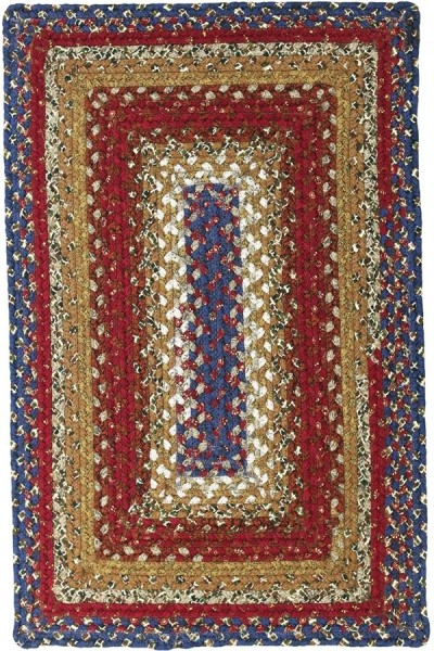 Blue, Burgundy, Mustard Country Area Rug