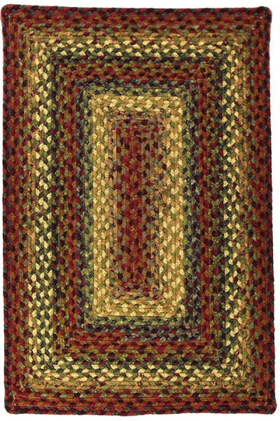 Red, Green, Mustard Country Area Rug