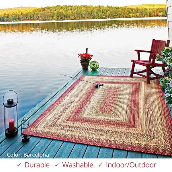 Burgundy, Green, Gold Outdoor / Indoor Area Rug