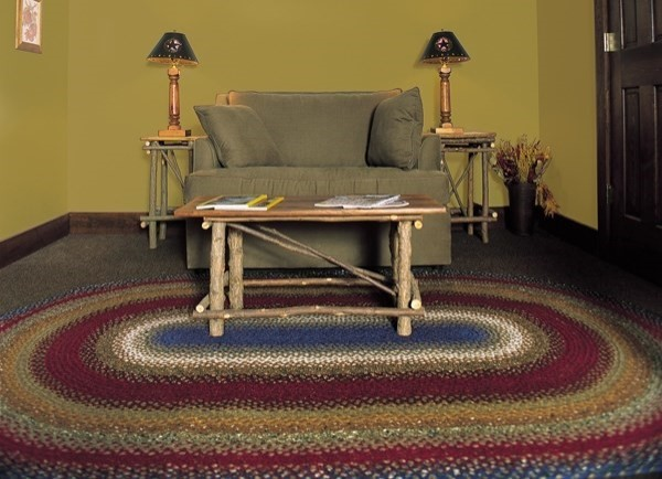 Red, Mustard, Blue Country Area Rug