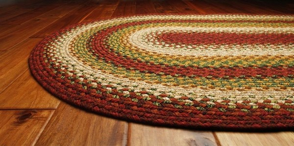 Red, Tan, Green Country Area Rug