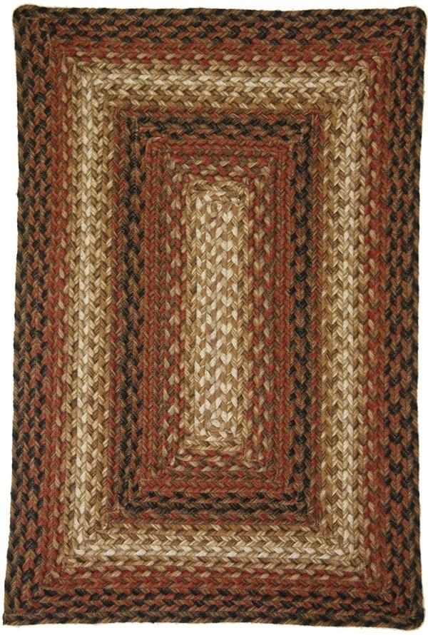 Golden Beige, Russet, Black Country Area Rug