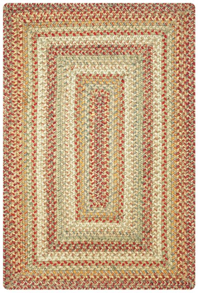 Beige, Tan, Red Country Area Rug