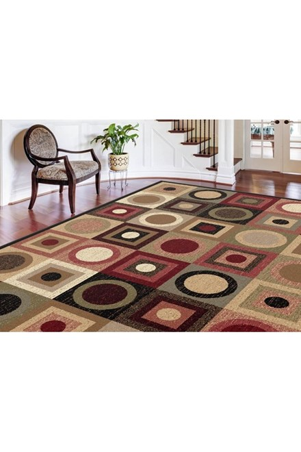 Red, Ivory, Black (ELG-5130) Contemporary / Modern Area Rug
