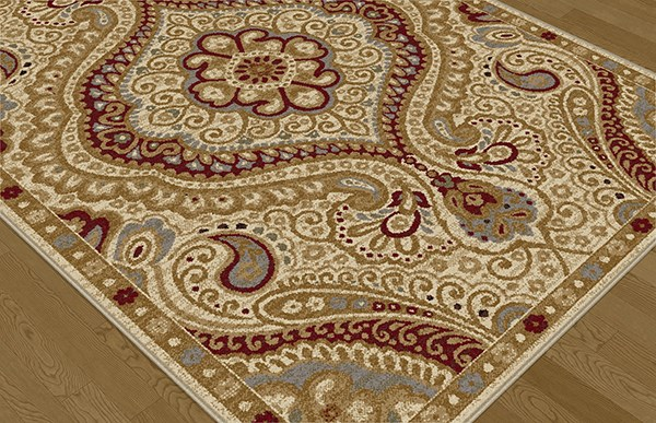 Ivory, Red, Gold Traditional / Oriental Area Rug