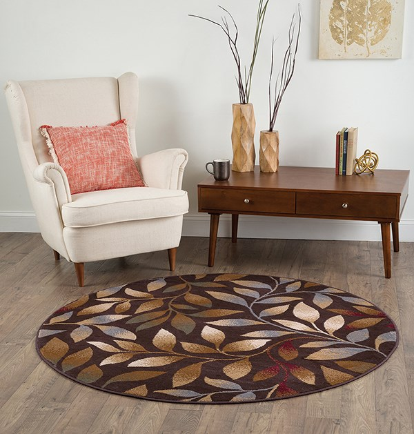 Brown, Red, Gold Floral / Botanical Area Rug