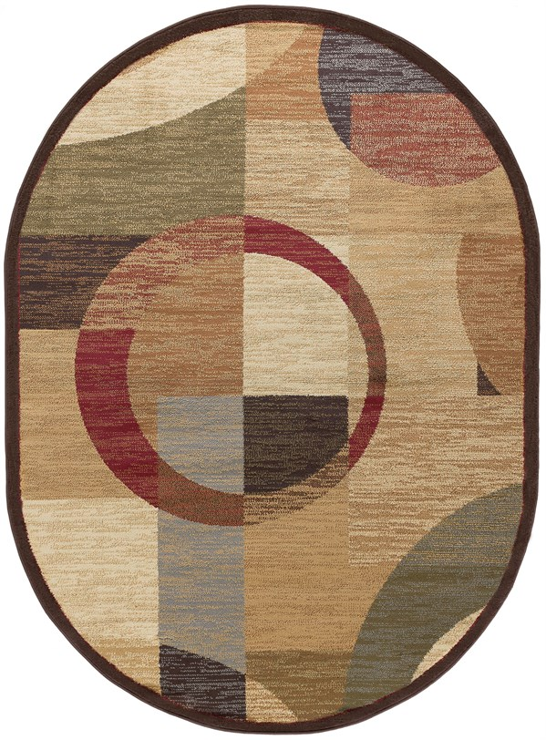 Red, Ivory, Blue (ELG-5110) Contemporary / Modern Area Rug