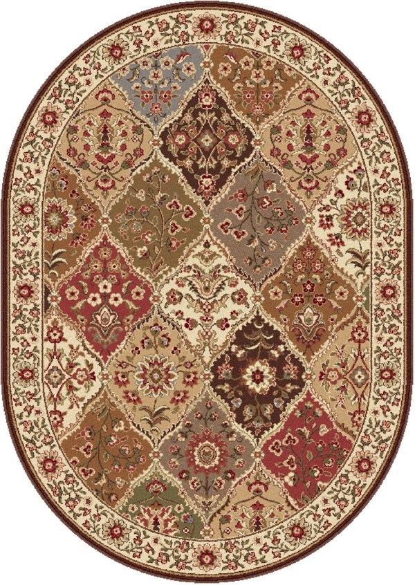 Red, Ivory, Blue (ELG-5120) Traditional / Oriental Area Rug