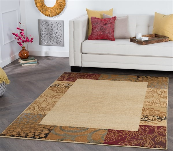 Beige, Brown, Red (ELG-5202) Contemporary / Modern Area Rug