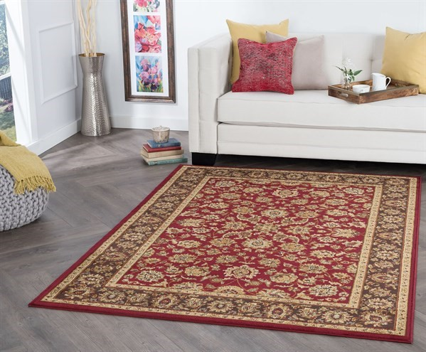 Red, Beige, Brown Traditional / Oriental Area Rug
