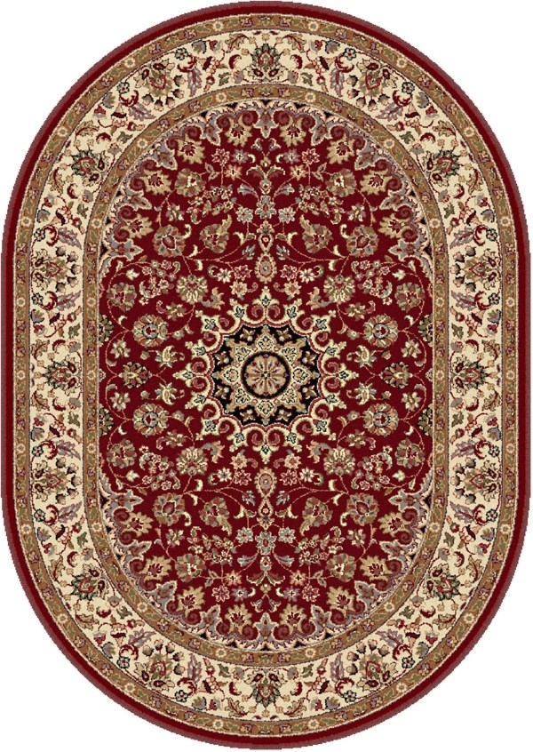 Red, Beige, Black Traditional / Oriental Area Rug
