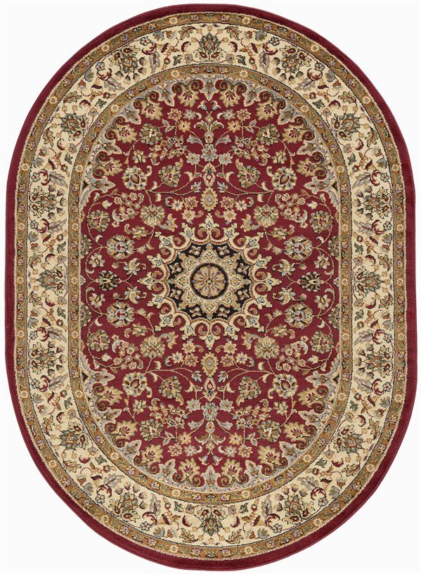 Red, Beige, Black Traditional / Oriental Area Rug