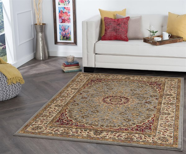 Blue, Red, Beige Traditional / Oriental Area Rug