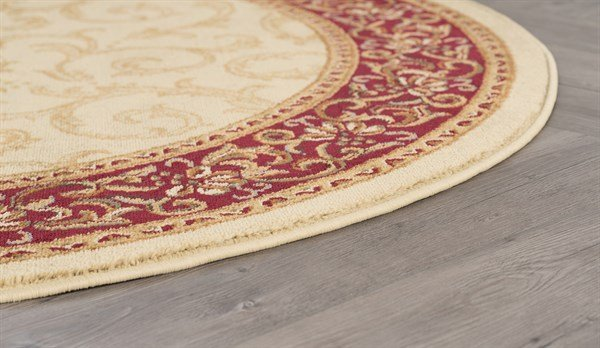 Ivory, Red, Green Traditional / Oriental Area Rug