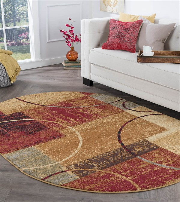 Red, Beige, Blue Contemporary / Modern Area Rug