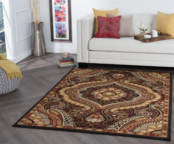Black, Red, Gold Traditional / Oriental Area Rug