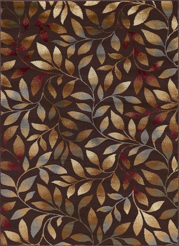Brown, Red, Gold Floral / Botanical Area Rug