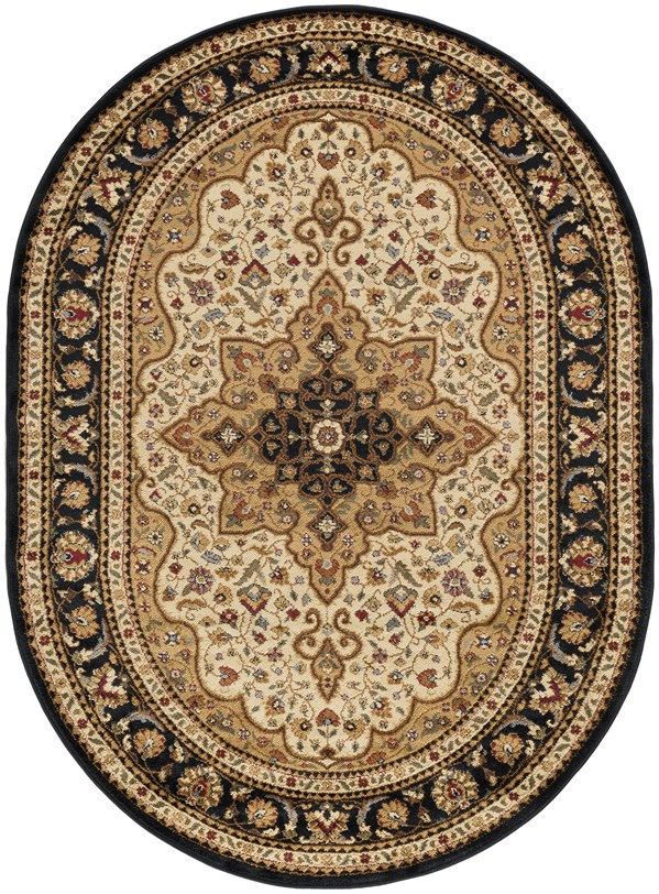 Ivory, Gold, Black, Red, Mossy Green, Tan, Blue Traditional / Oriental Area Rug