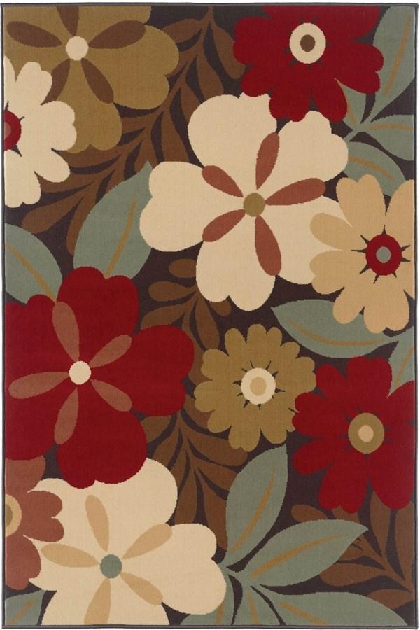 Red, Blue, Beige (LGN-4520) Floral / Botanical Area Rug