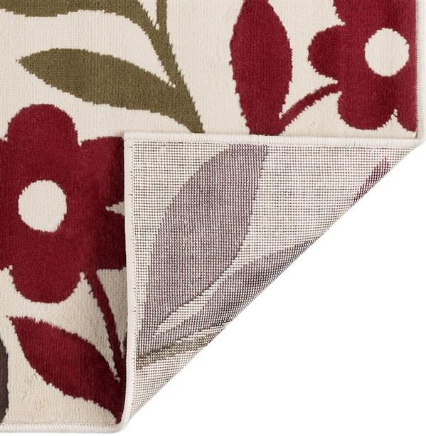 Beige, Red, Blue-Grey (LGN-4542) Floral / Botanical Area Rug