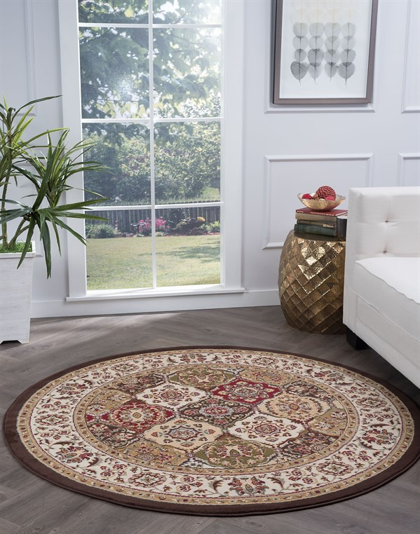 Beige, Red, Black (LGN-4588) Traditional / Oriental Area Rug