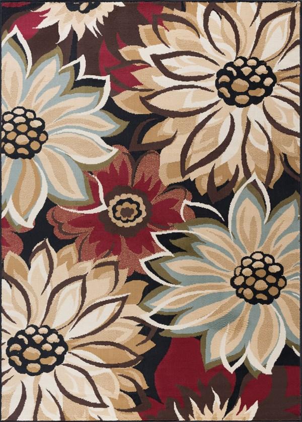 Black, Red, Blue (LGN-4983) Floral / Botanical Area Rug