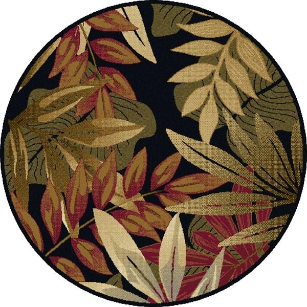 Black, Green, Red (LGN-4993) Floral / Botanical Area Rug