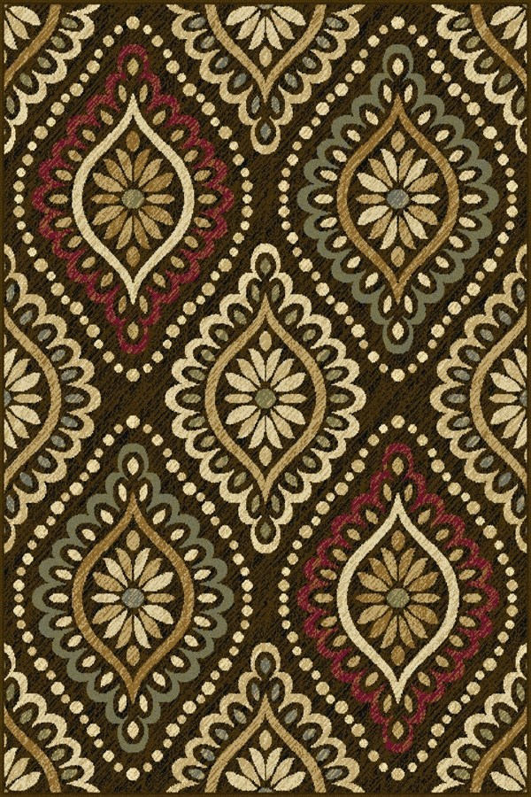 Brown, Red, Gold (LGN-5008) Damask Area Rug