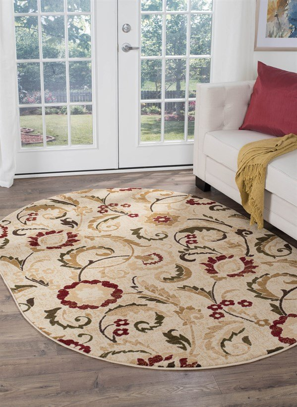 Ivory, Red, Gold (LGN-5052) Traditional / Oriental Area Rug