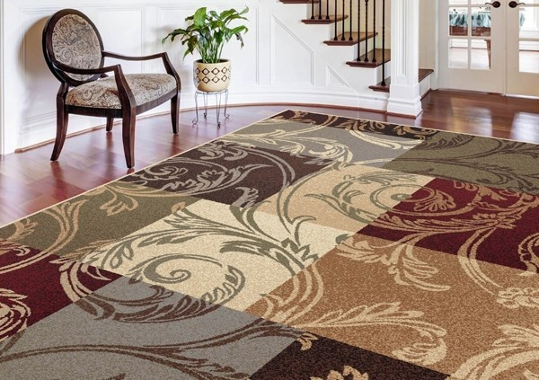Ivory, Red, Brown Transitional Area Rug