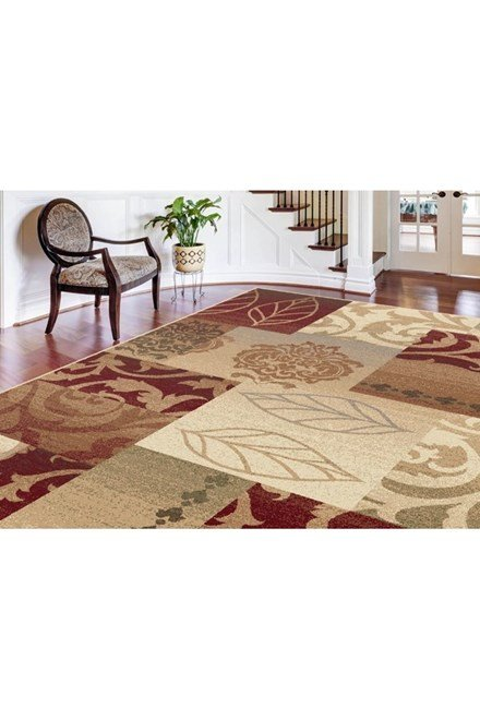 Red, Ivory, Beige Transitional Area Rug