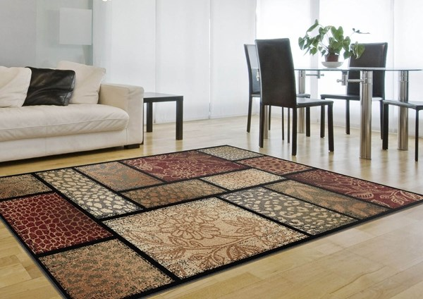 Brown, Red, Green Transitional Area Rug