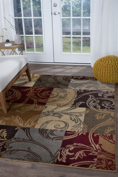 Ivory, Red, Brown Country Area Rug