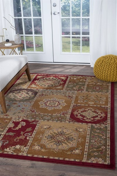 Beige, Red, Blue Country Area Rug