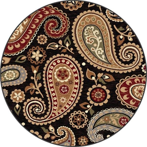 Black, Brown, Red Paisley Area Rug